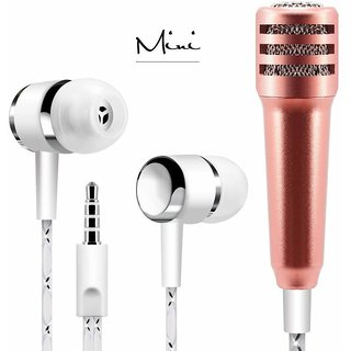 Paytech Mini Condenser Microphone Stereo Mic with Earphone for Voice Recording,Chatting On Cellphones,Tablets,Laptops