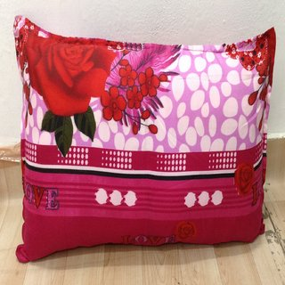 Pink Love Floral Printed Pillow Cover Set of 2 By Azaani