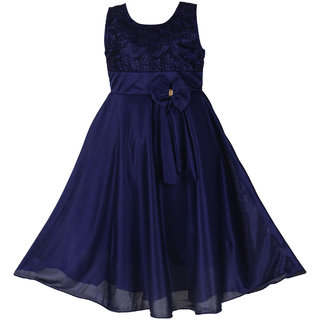 Prince and Princess Blue Party wear Satin Long Frock