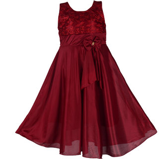 Prince and Princess Maroon Satin Party Long Frock