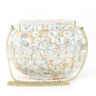 996662eab8 Voila Pearl Look Alike Mosiac Stone Clutch cum Shoulder Bag