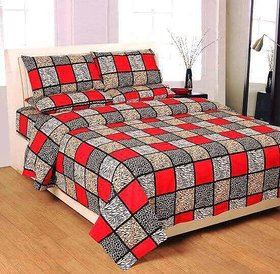 craftwell cotton red and grey printed checks double bedsheet with 2 pillow covers