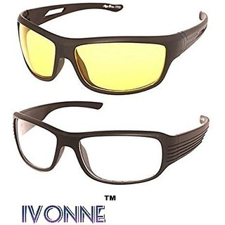 a6e28f3aba Buy Ivonne Night Vision Unisex Driving Sunglasses Combo  (Nightvisioncombo55YellowWhite) Online - Get 80% Off