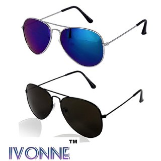 702266fc3f Buy Ivonne Combo Of Blue Black Aviator Sunglasses Online - Get 83% Off