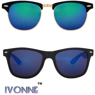 fbcf8dbe08 Buy Ivonne Multicolor UV Protected Unisex sunglasses Pack of 2 Online - Get  73% Off