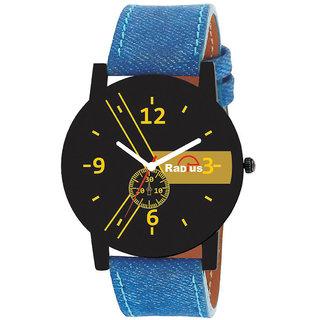 Radius Golden Quartz Analog Blue Strap Round Dial Men's Watch