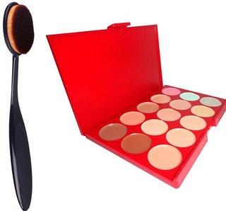 ADS  15 Colors Contour Face Creme Makeup Concealer Palette + Make up Brush Pack of 2-C357  (Set of 2)