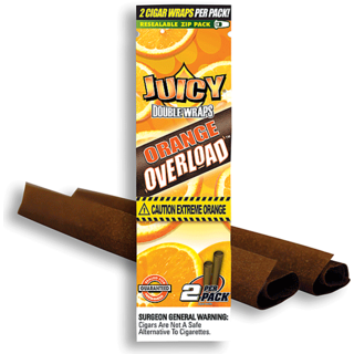 Radise Juicy Jay Double Blunt Wrap Orange Overload Cigar Rolling Paper (2 Blunt Tubes)