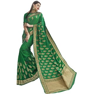 Aagaman Green Crepe Festive Lace Saree