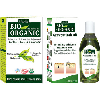 Natural Hair Regrowth Oil For Improve Hair Thikness With Herbal Henna Powder Set Of 2