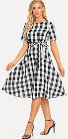 Code Yellow Women Black White Check Tie Waist Fit Flare Short Dress