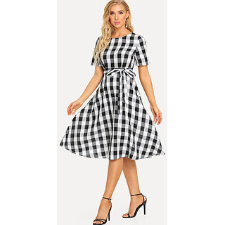 Code Yellow Women's Black White Check Tie Waist Fit Flare Short Dress