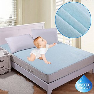 Xy Decor Blue Waterproof Non-Woven Double Bed Mattress protector with Elastic Strap Blue