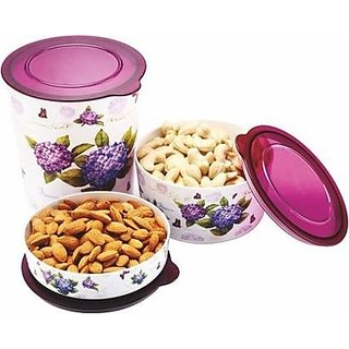 Multiutility Airtight Microwave Safe 3 Pcs Food Grade Container Of 3 Variant Sizes For An Organized Kitchen Table