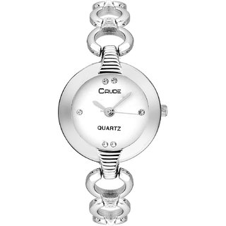 627c39d59 Buy Crude rg2053 white dial silver chain watch for women and girls ...