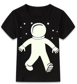 Crazy Prints Interactive astronaut Glow In Dark T shirt for kids