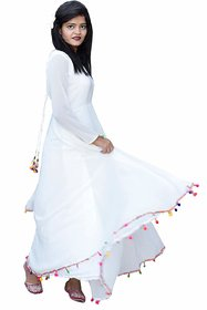 Rosella White Plain Fit & Flare Dress For Women