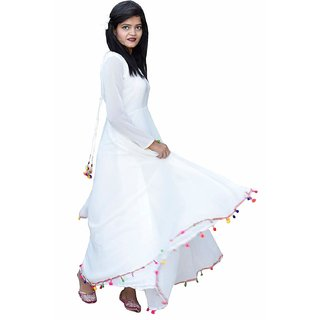 Rosella White Plain Fit & Flare Dress For Women