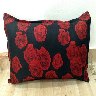 Black Floral Printed Pillow Cover Set of 2 By Azaani