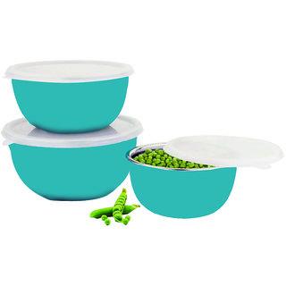 Bincy Matte Finish Microwave Safe Serving Bowls Set of 3 with Lid (Blue)