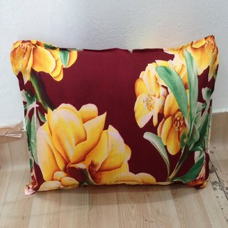 Red Yellow Floral Printed Pillow Cover Set of 2 By Azaani