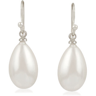 Oviya Rhodium Plated Delicate Tear Drop Artificial Pearl Fish Hook Earrings for girls and women ER2109466R