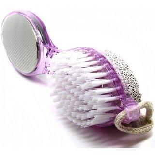 4 in 1 Pedicure Brush Set Cleanse Scrub Buff Foot Scrubber Nail Brush Emery File