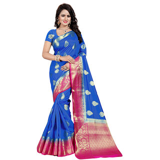 Dwarkesh Fashion Blue Banarasi Art Silk Saree With Matching Blouse Piece (dfhb-julie blue)