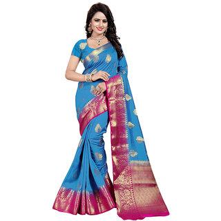 Dwarkesh Fashion Firozi Color Banarasi Art Silk Saree With Matching Blouse Piece (dfhb-julie firozi)