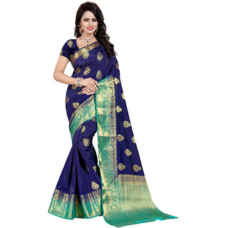 Dwarkesh Fashion Navy Blue Banarasi Art Silk Saree With Matching Blouse Piece (dfhb-julie navy blue)