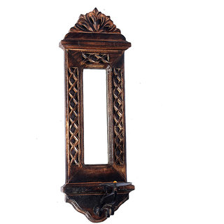 Phirk Craft Wooden Candle Holder/ Decorative Wall Mirror/ Wall Decor