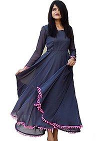 Raabta Women's Navy Blue Pom Pom Dress