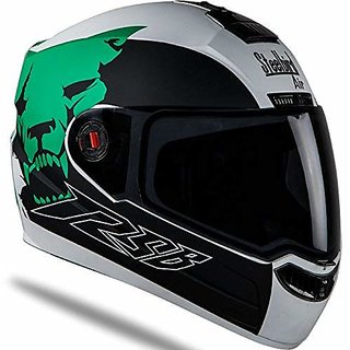 1b0acac54d2 Steelbird Helmet SBA-1 Beast Stylish full face Bike helmet Matt White Green  with Plain Visor- Large 600MM