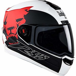 Steelbird Helmet SBA-1 Beast Stylish full face Bike helmet Glossy White/Red with Plain Visor- Medium 580MM