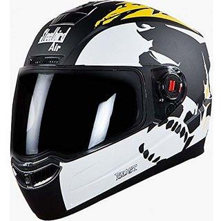 Steelbird Helmet SBA-1 Beast Stylish full face Bike helmet Glossy Black/Yellow with Smoke Visor- Large 600MM