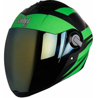 Steelbird Air SBA-2 Streak Full Face Helmet with Visor (Matt Black/Green/Gold L)