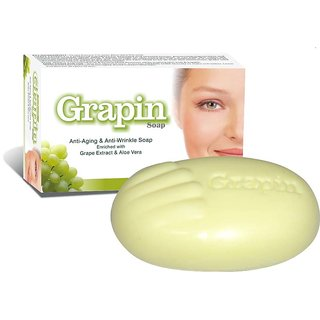 Grapin Anti-Ageing And Anti-Wrinkle Grape Extract And Aloevera Soap ( pack of 3 )75 gm each