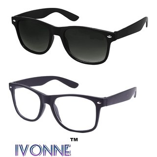 ee6fccec137ad Buy Ivonne Sunglasses for Mens Womens Boys Girls  (Simple-Black-Wayfarer+Simple-Clear-Wayf) Online - Get 84% Off