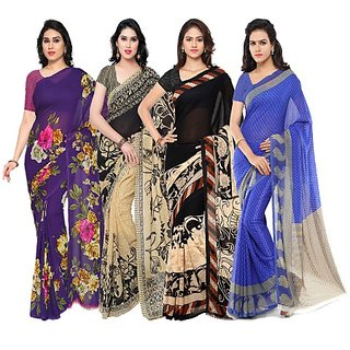 Anand Sarees Multicolor Faux Georgette Printed Saree With Blouse