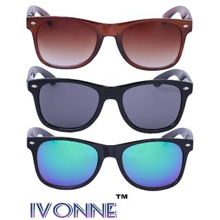 d92bb1e5bd Buy Ivonne Combo Of 3 Uv Protected Wayfarer Unisex Sunglasses Online - Get  86% Off