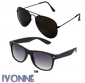 Ivonne Combo Of Black Aviator Wayfarer Sunglasses