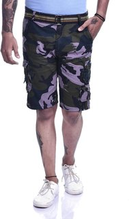 Timbre Multicolor Printed Cargo Shorts
