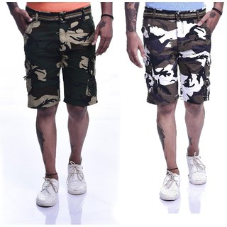Timbre Multicolor Printed Cargo Shorts (Pack of 2)
