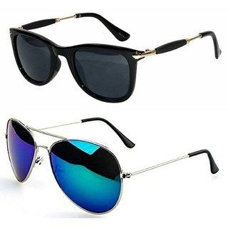 c816508193b8 GNSUN combo of 2 Unisex model sunglasses 2148 Full black+Aviator Blue  Mercury with boxes