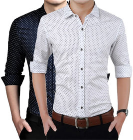 US Pepper Nevy  White Dotted Shirts
