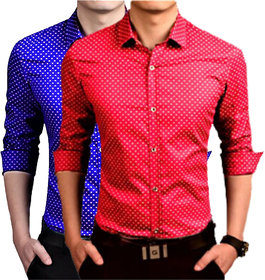 US Pepper Royal  Red Dotted Shirts