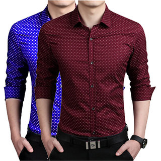 US Pepper Royal  Maroon Dotted Shirts