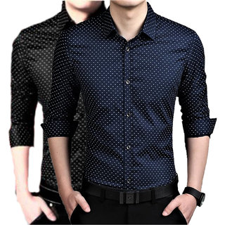 US Pepper Nevy  Black Dotted Shirts