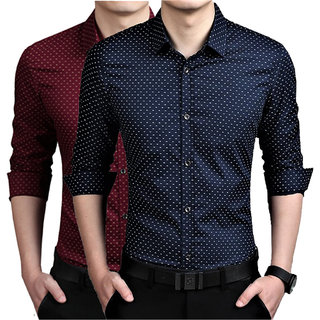 US Pepper Maroon  Nevy Dotted Shirts
