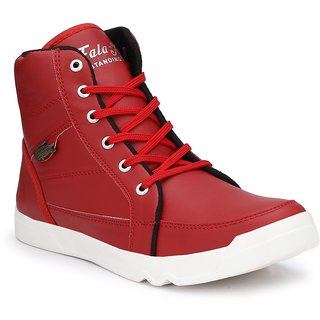 NYN Men's Red Synthetic Leather Casual Boots